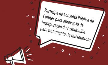Imagem Ilustrativa De Um Megafone E Ao Lado Uma Caixa De Diálogo Com Um Texto Dentro Que Convoca A Participação Da Consulta Pública Da Conitec