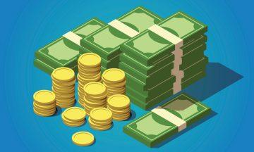 Imagem De Moedas E Notas De Dinheiro