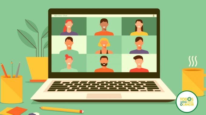 Imagem De Uma Ilustração De Um Notebook Com Várias Pessoas Na Tela Em Representação à Uma Reunião Online