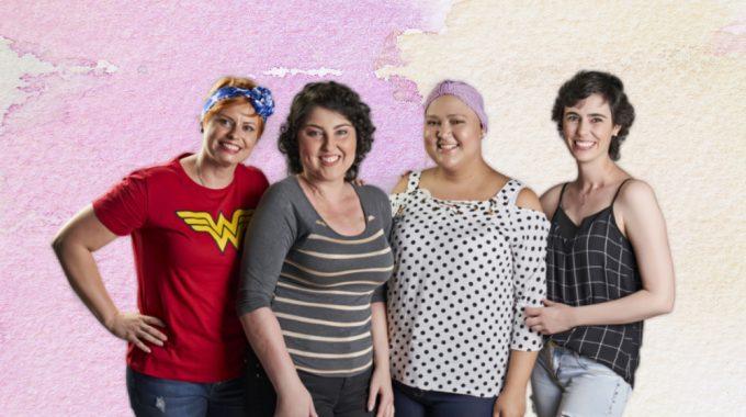 Movimento TJCC Trabalha Aprovação Do Estatuto Da Pessoa Com Câncer. A Imagem Contém Quatro Mulheres Abraçadas Que Se Recuperaram Ou Estão Com Câncer. Algumas Estão Com Um Lenço Na Cabeça.